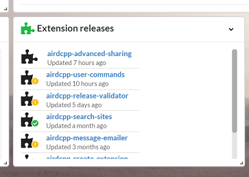 Extension releases widget